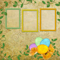 Spring background with frame and flowers