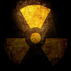 sign of radiation on the grunge wall