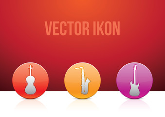 A set of shiny glossy music icons