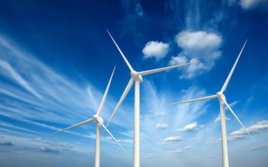 Wind generator turbines in sky