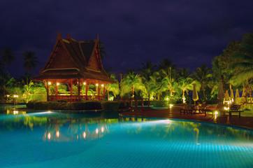 swimming pool in night