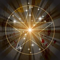 The Ancient Medieval Mystic Pentagram 'Sidus hominis vitruviani' (Pentacle). Parchment background vector illustration EPS-10.