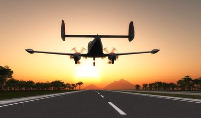 Plane at sunset.