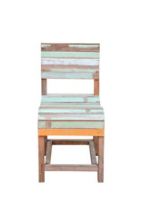Vintage wood chair isolated on white