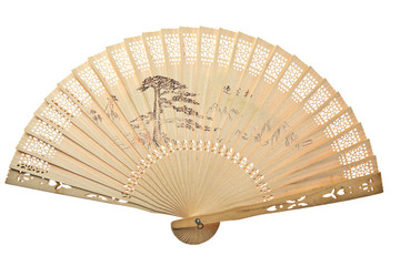 Oriental wooden chinese fan isolated on white background