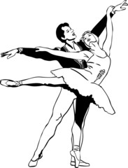sketch ballet pair in a dancing pose