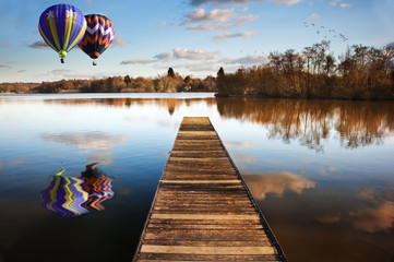 Printed roller blinds Pier Hot air balloons over sunset lake with jetty