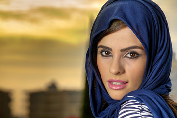 beautiful arabian lady wearing traditional islamic outfit
