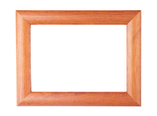 Blank wood picture frame on white background