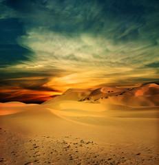 Photo sur Toile Desert de sable Sandy desert at sunset time