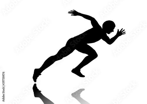短距離走選手のスタートポーズ