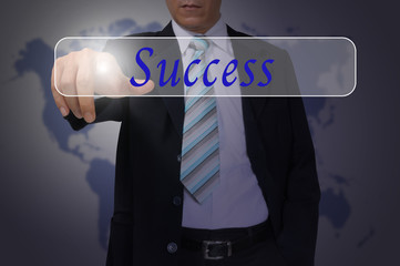 Hand of Business Man Pressing or Pushing success button