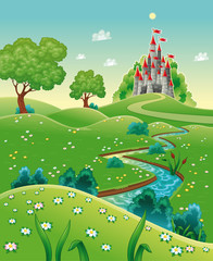 Poster Castle Panorama with castle. Cartoon and vector illustration.
