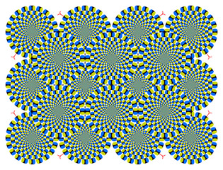Tuinposter Psychedelic Optical illusion Spin Cycle with snakelike (EPS)