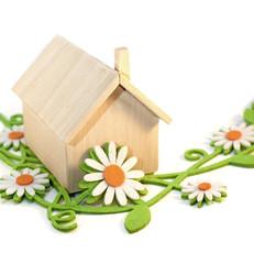 maison en bois et jardin de fleurs