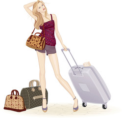 Beautiful young woman standing with suitcase and travel bags