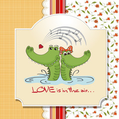 Crocodiles in love.Valentine's day card