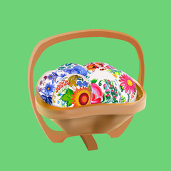 Easter eggs in wooden bowl