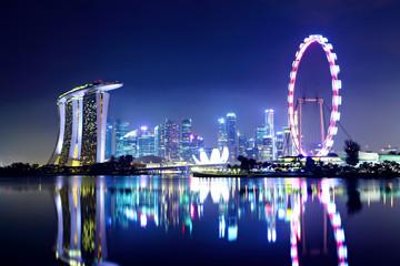 Foto op Plexiglas Singapore Singapore city skyline at night