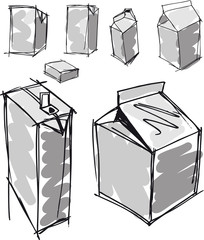Obraz Sketch of milk boxes in some different angle. Vector - fototapety do salonu