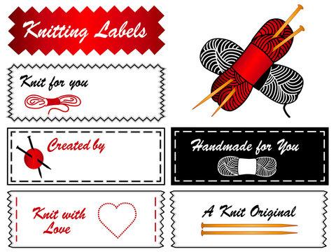 Knitting Labels, copy space, yarn, skeins, needles, DIY fashion