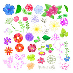 Set of Flower Elements