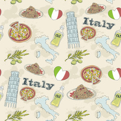 Papiers peints Doodle Italy travel grunge seamless pattern