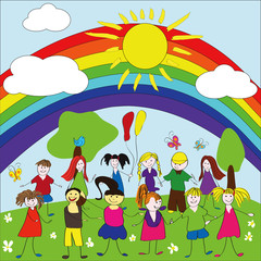 Spoed Fotobehang Regenboog Merry children background with rainbow