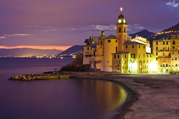 Wall Mural - Beautiful Sunset on the Pebble Beach in Camogli near Genoa, Ital