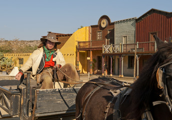 Wall Mural - Cowboy driving a wagon at Mini Hollywood Movie Set , Spain