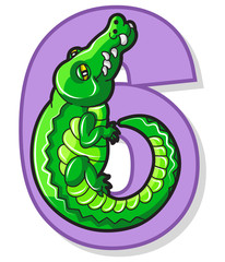 Colorful Number Six With Cartoon Alligator
