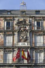 Facade Shield, main square Madrid, Spain.