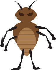 Angry brown bed bug