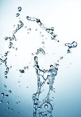 closeup of water splash on white