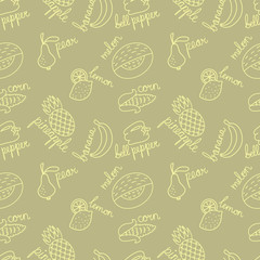 Yellow fruits outline pattern
