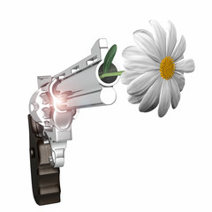 Flower and Gun - 3D Illustration