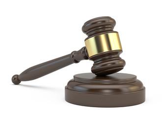 Court gavel isolated on white background