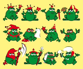 Twelve royalty cartoon frogs. Print for a T-shirt