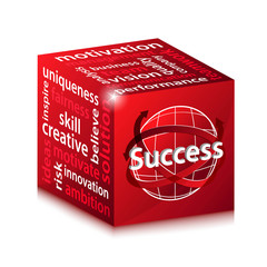 red business success concept illustration vector cube