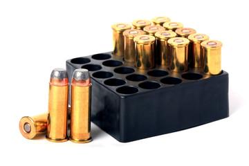 .357 pistol ammo in box isolated.