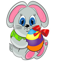 easter bunny with paited egg. easter holiday illustration