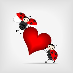 Photo sur Aluminium Coccinelles ladybugs with heart