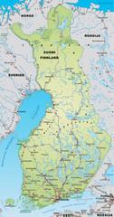 Landkarte von Finnland mit Autobahnen