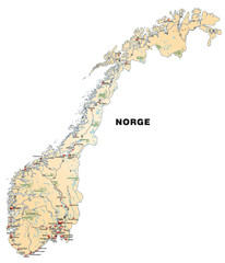 Inselkarte von Norwegen in orange