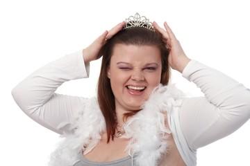 Portrait of winking plump woman