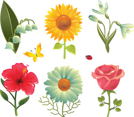 set of 6 flowers, butterfly and ladybird