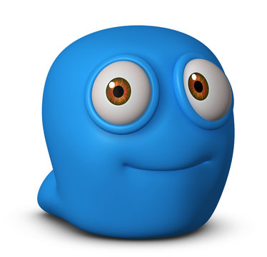 cute blue worm
