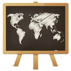 World Map On Classroom Blackboard