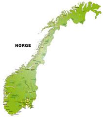 Norwegenkarte mit Gewässernetz und Orten
