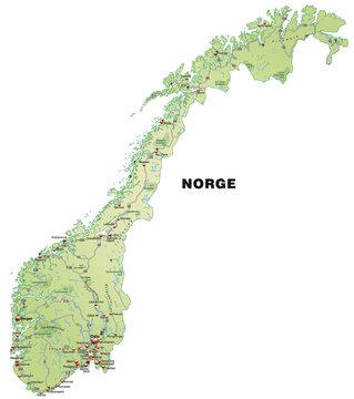Norwegenkarte mit Autobahnen in pastell